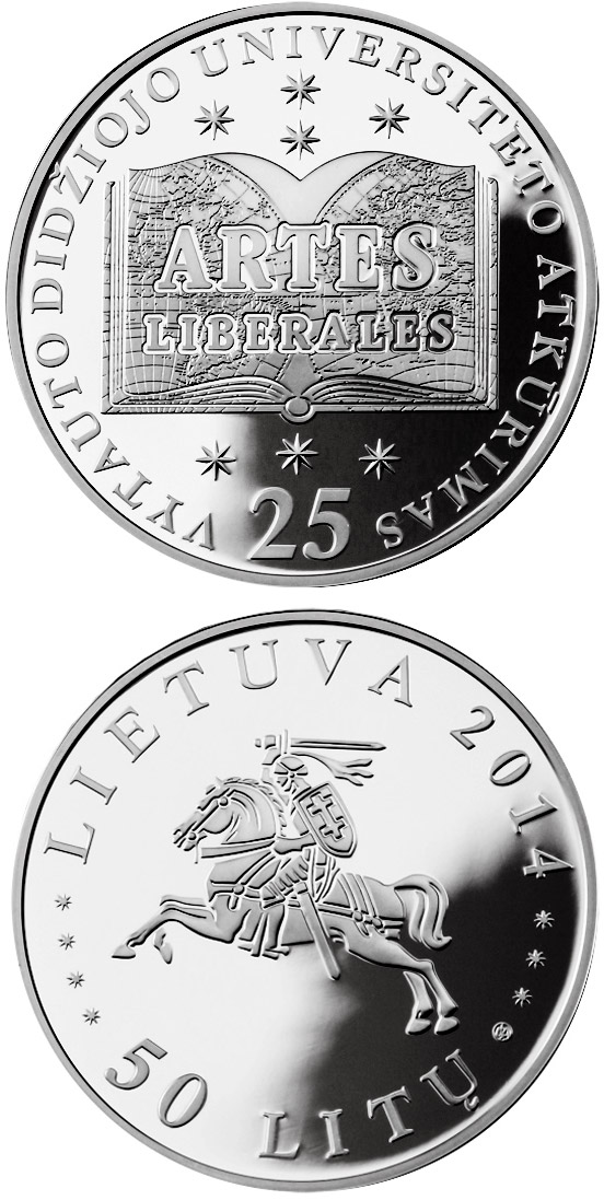 Image of 50 litas coin - 25th Anniversary of the Re-establishment of the Vytautas Magnus University | Lithuania 2014.  The Silver coin is of Proof quality.