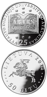 50 litas coin 25th Anniversary of the Re-establishment of the Vytautas Magnus University | Lithuania 2014