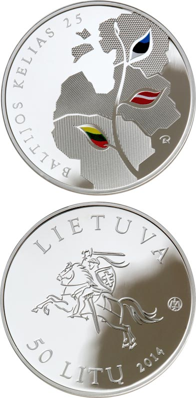 50 litas 25th anniversary of the Baltic Way - 2014 - Series: Silver 50 litas coins - Lithuania