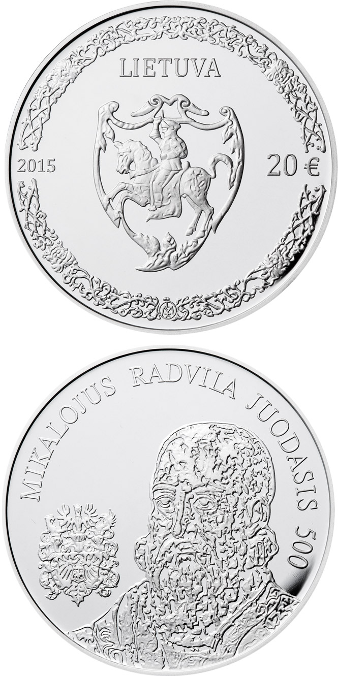 Image of 20 euro coin - 500th anniversary of the birth of Mikalojus Radvila Juodasis | Lithuania 2015.  The Silver coin is of Proof quality.