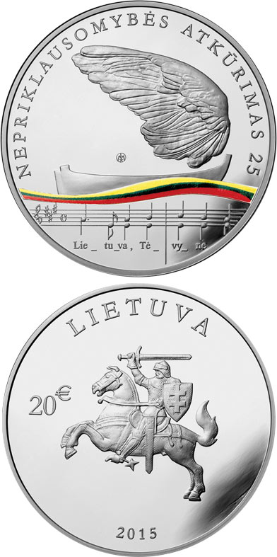 Image of 20 euro coin 25th anniversary of the restoration of Lithuania's independence  | Lithuania 2015.  The Silver coin is of Proof quality.