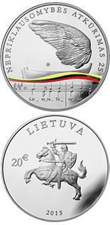 20 euro coin 25th anniversary of the restoration of Lithuania's independence  | Lithuania 2015