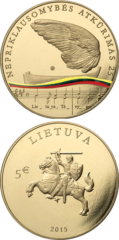 Image of 5 euro coin - 25th anniversary of the restoration of Lithuania's independence  | Lithuania 2015.  The Nordic gold (CuZnAl) coin is of UNC quality.
