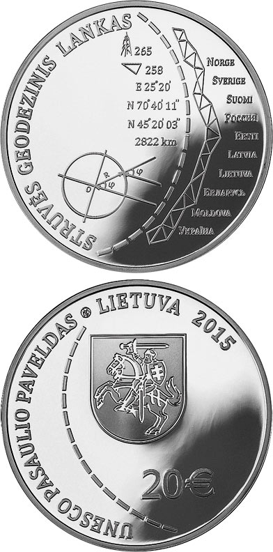 Image of 20 euro coin - Struve Geodetic Arc (UNESCO World Heritage) | Lithuania 2015.  The Silver coin is of Proof quality.