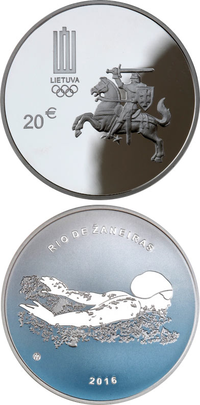 Image of 20 euro coin - The 31st Olympic Games in Rio de Janeiro | Lithuania 2016.  The Gold coin is of Proof quality.