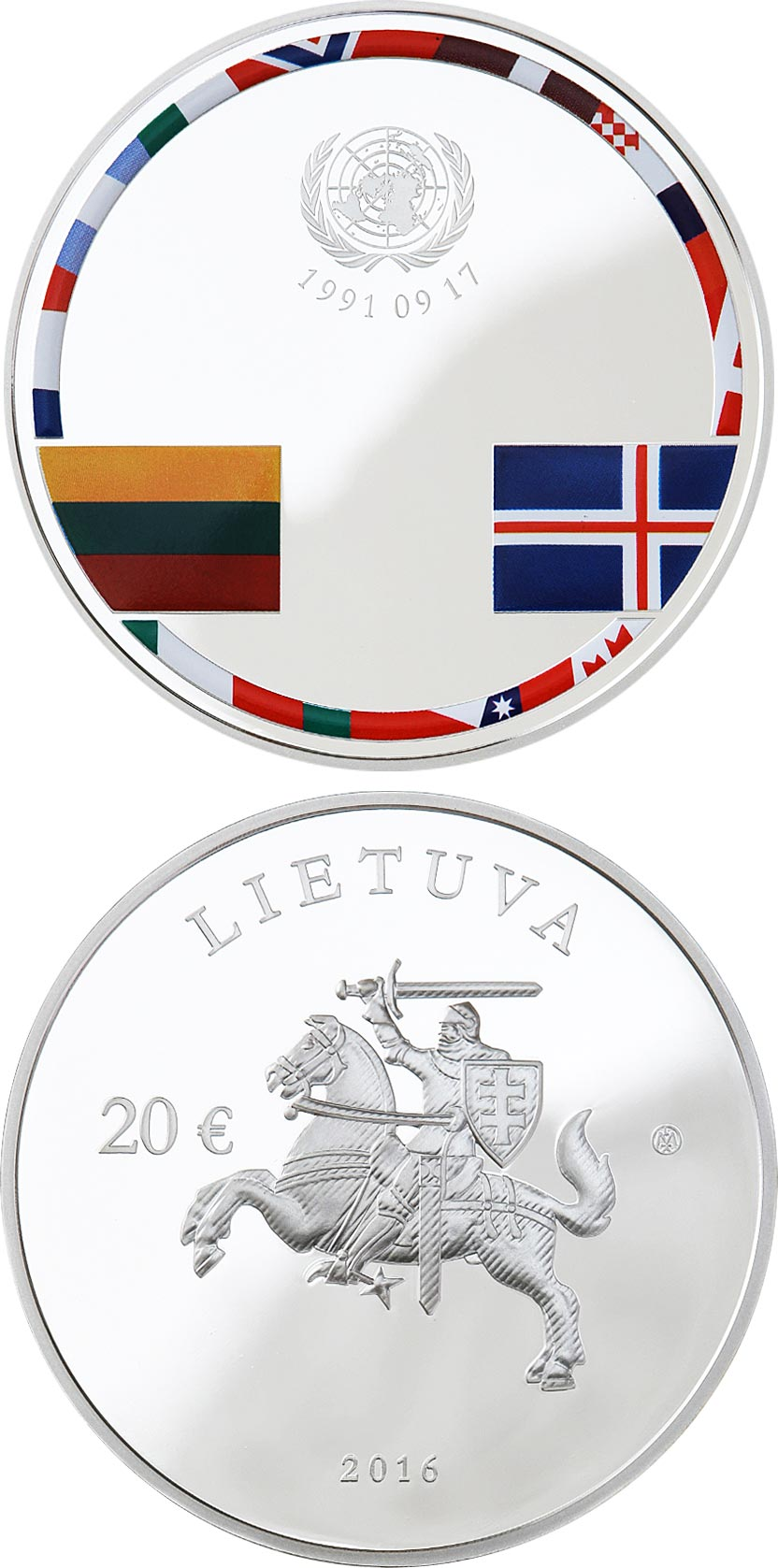 Image of 20 euro coin - 25th anniversary of the consolidation of Independence | Lithuania 2016.  The Silver coin is of Proof quality.