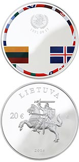 20 euro coin 25th anniversary of the consolidation of Independence | Lithuania 2016