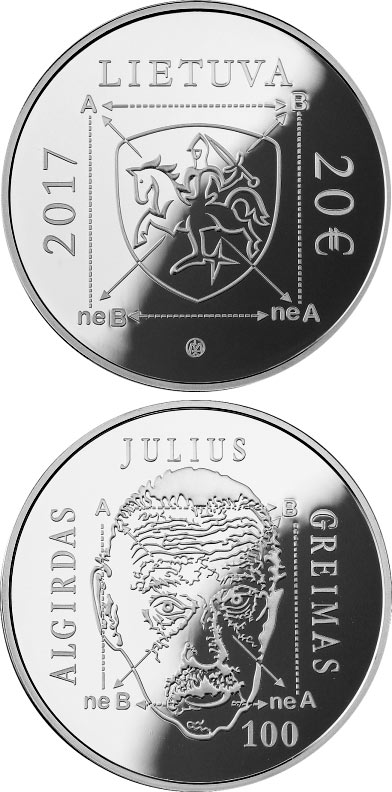 Image of 20 euro coin - 100th anniversary of Algirdas Julius Greimas  | Lithuania 2017.  The Silver coin is of Proof quality.