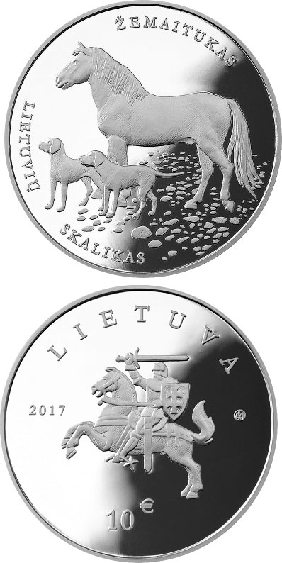 Image of 10 euro coin - Lithuanian Hound and Žemaitukas | Lithuania 2017.  The Silver coin is of Proof quality.