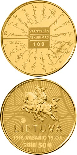 Image of 50 euro coin - Signatories  | Lithuania 2018.  The Gold coin is of Proof quality.