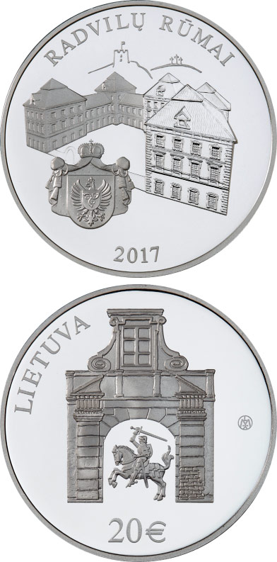 Image of 20 euro coin Radziwiłł Palace | Lithuania 2017.  The Silver coin is of Proof quality.