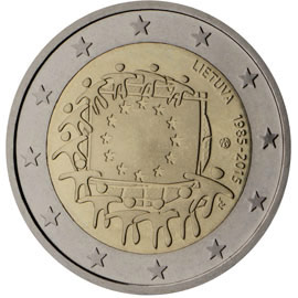 Image of a coin 2 euro | Lithuania | The 30th anniversary of the EU flag | 2015