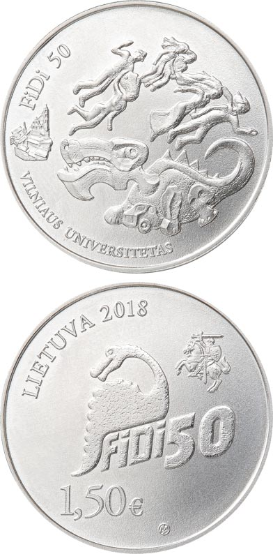 Image of 1.5 euro coin - Vilnius University Physicist`s Day, FiDi 50 | Lithuania 2018.  The Copper–Nickel (CuNi) coin is of UNC quality.