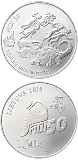 1.5 euro coin Vilnius University Physicist`s Day, FiDi 50 | Lithuania 2018