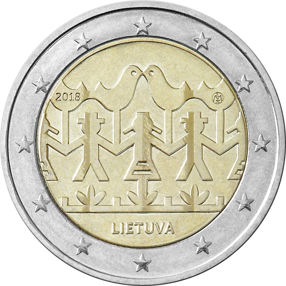 Image of 2 euro coin – Lithuanian Song and Dance Celebration | Lithuania 2018