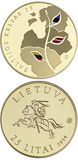 25 litas coin 25th anniversary of the Baltic Way | Lithuania 2014