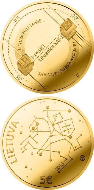 Image of 5 euro coin – Technological Sciences | Lithuania 2018.  The Gold coin is of Proof quality.