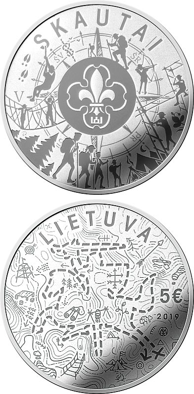 Image of 5 euro coin - Scouts | Lithuania 2019.  The Silver coin is of Proof quality.
