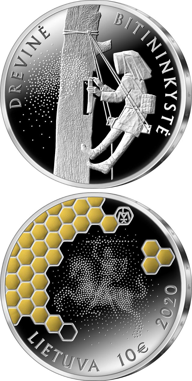 Image of 10 euro coin - The Tree Beekeeping | Lithuania 2020.  The Silver coin is of Proof quality.