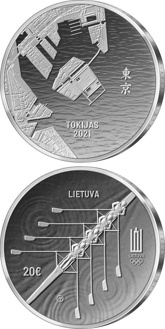 Image of 20 euro coin - XXXII Olympic Games in Tokyo | Lithuania 2020.  The Silver coin is of Proof quality.