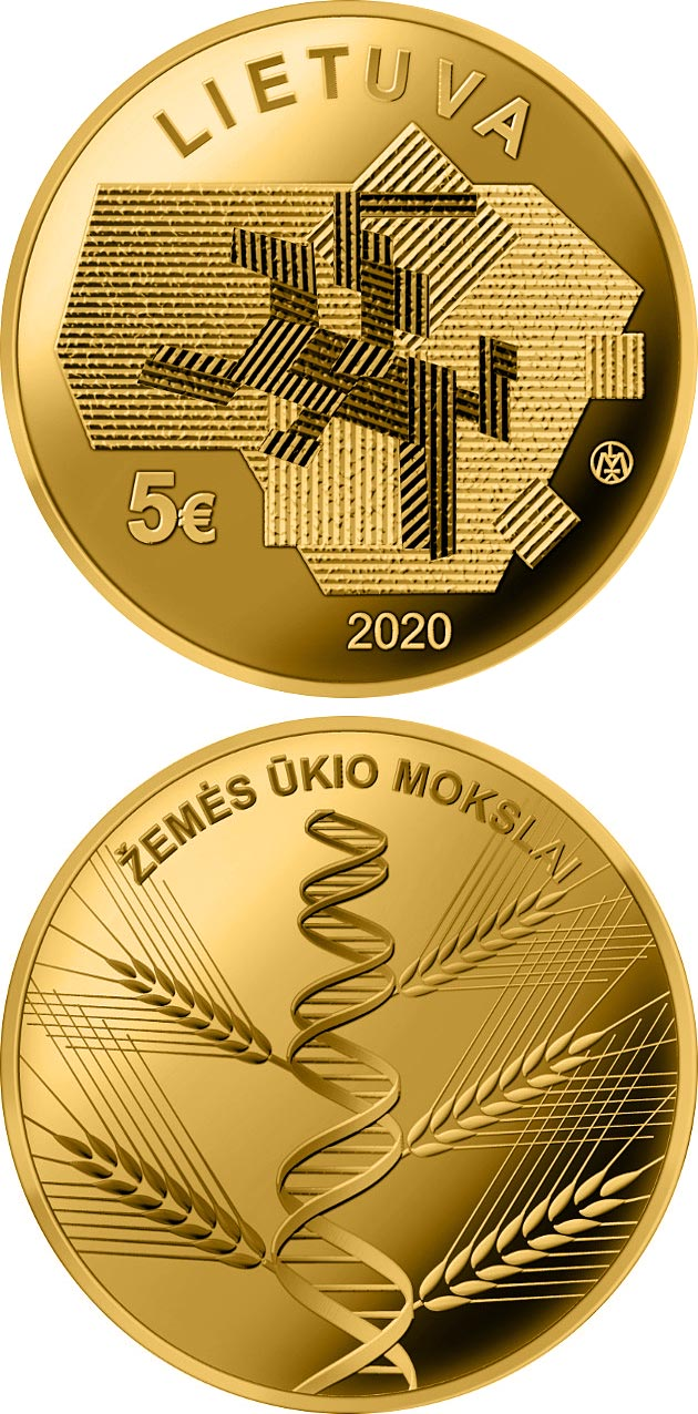 Image of 5 euro coin - Agricultural Sciences | Lithuania 2020.  The Gold coin is of Proof quality.