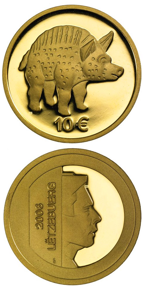 Image of Boar from Titelberg  – 10 euro coin Luxembourg 2006.  The Gold coin is of Proof quality.