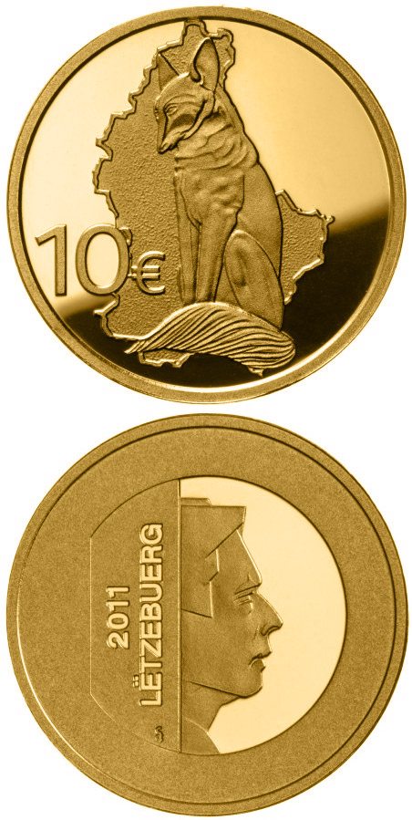 Image of Rénert the Fox  – 10 euro coin Luxembourg 2011.  The Gold coin is of Proof quality.
