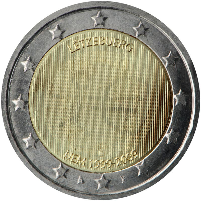 Image of a coin 2 euro | Luxembourg | 10th Anniversary of the Introduction of the Euro | 2009