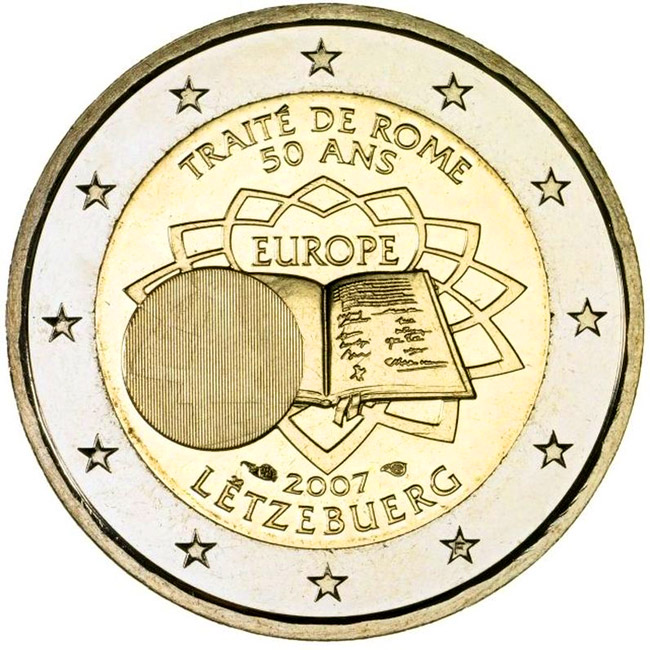 Image of 2 euro coin - 50th Anniversary of the Treaty of Rome | Luxembourg 2007
