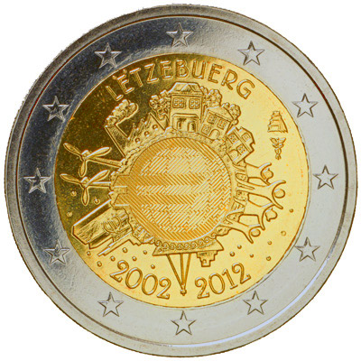 Image of 2 euro coin - Ten years of Euro  | Luxembourg 2012