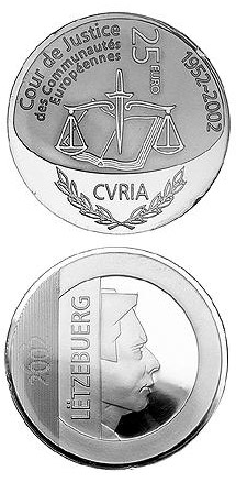 Image of 25 euro coin - 50 years Court of Justice of the European Communities  | Luxembourg 2002.  The Silver coin is of Proof quality.