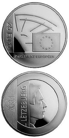 Image of 25 euro coin 25 years Elections to the European Parliament  | Luxembourg 2004.  The Silver coin is of Proof quality.