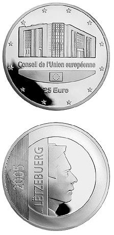 Image of 25 euro coin - Council of the European Union and Luxembourg Presidency  | Luxembourg 2005.  The Silver coin is of Proof quality.