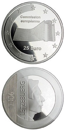 Image of 25 euro coin - European Commission  | Luxembourg 2006.  The Silver coin is of Proof quality.