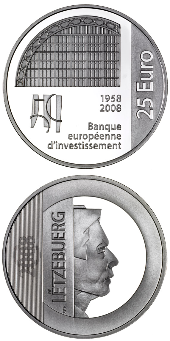 Image of 25 euro coin - 50 years European Investment Bank  | Luxembourg 2008.  The Silver coin is of Proof quality.