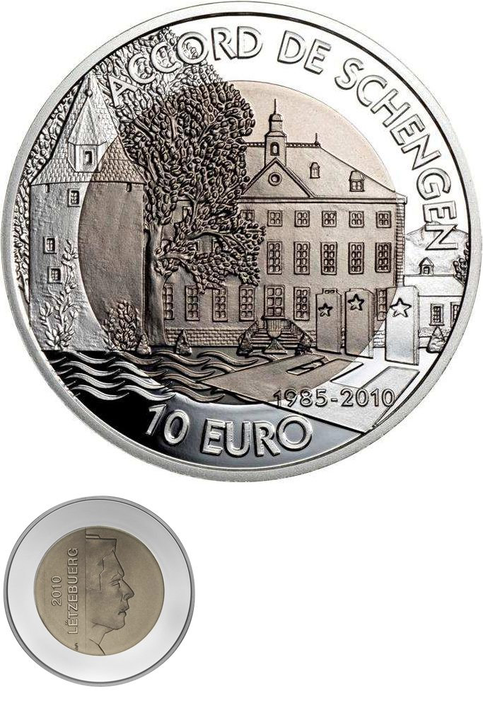 Image of 10 euro coin - 25th Anniversary Of The Schengen Agreement | Luxembourg 2010.  The Bimetal: silver, titanium coin is of proof-like quality.