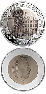 10 euro coin 25th Anniversary Of The Schengen Agreement | Luxembourg 2010
