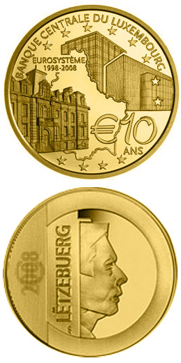 Image of 10 euro coin - 10 years Central Bank of Luxembourg BCL  | Luxembourg 2008.  The Gold coin is of Proof quality.