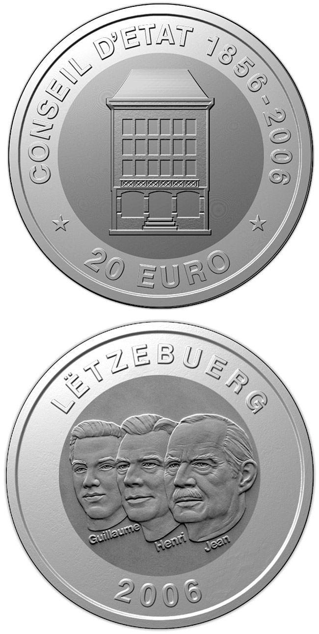 Image of 20 euro coin - 150 years Council of State  | Luxembourg 2006.  The Bimetal: silver, titanium coin is of BU quality.