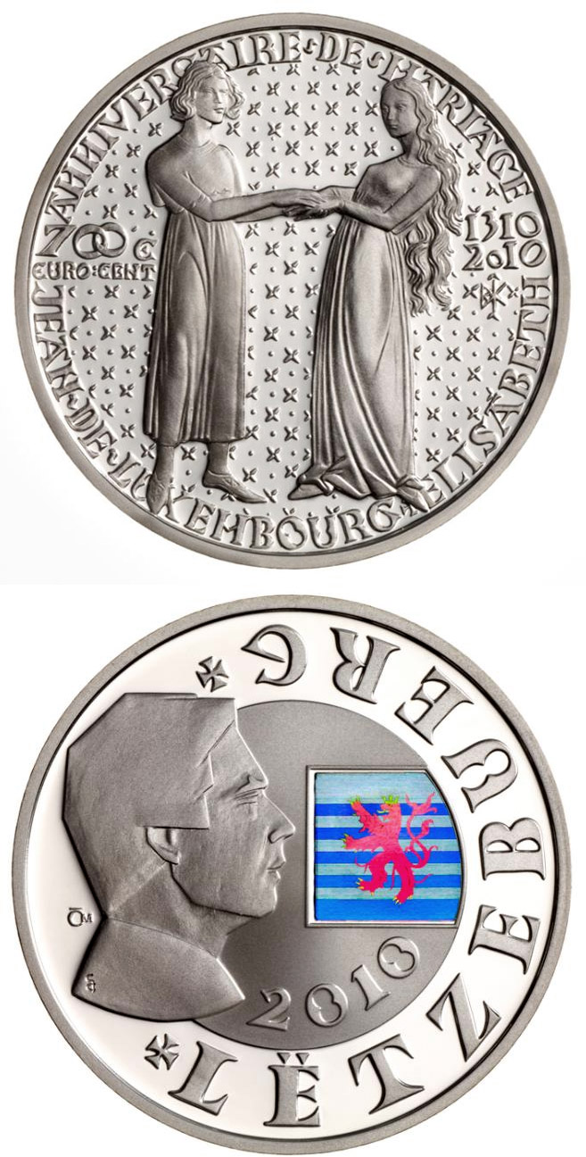 Image of 700th Anniversary Of The Wedding Of John Of Luxembourg With Elisabeth Of Bohemia – 700 eurocents coin Luxembourg 2010.  The Silver coin is of Proof quality.