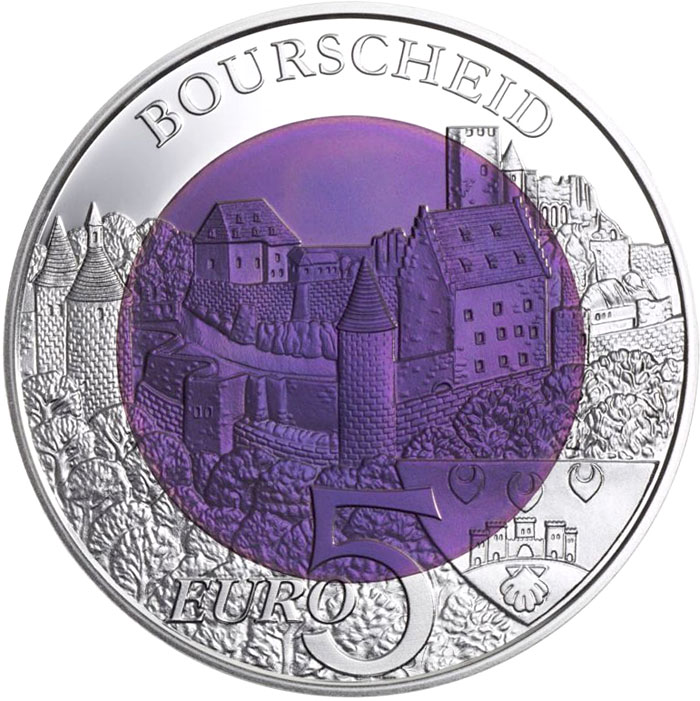 Image of 5 euro coin - Château Bourscheid | Luxembourg 2012.  The Bimetal: silver, niobium coin is of BU quality.
