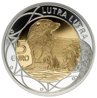 Image of 5 euro coin – European Otter | Luxembourg 2011.  The Bimetal: silver, nordic gold coin is of Proof quality.