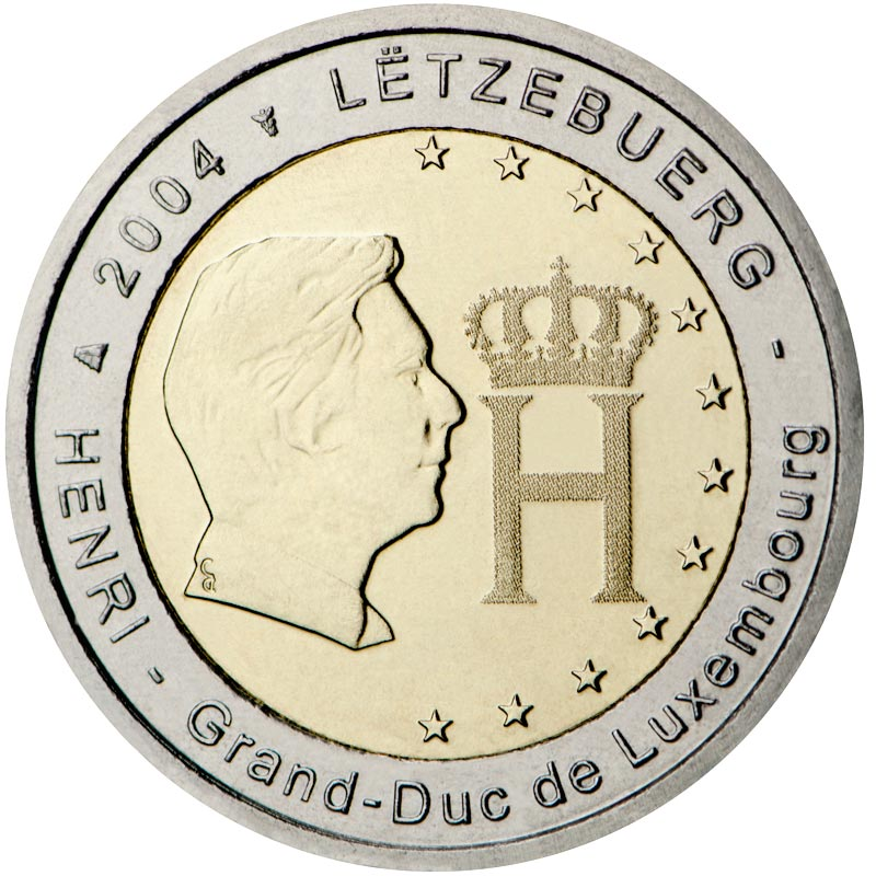 Image of a coin 2 euro | Luxembourg | Effigy and Monogram of Grand Duke Henri | 2004