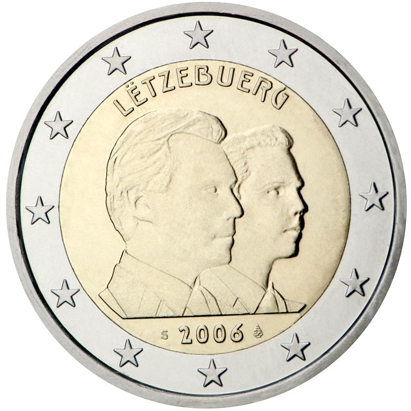 Image of a coin 2 euro | Luxembourg | 25th Birthday of Hereditary Grand Duke Guillaume | 2006