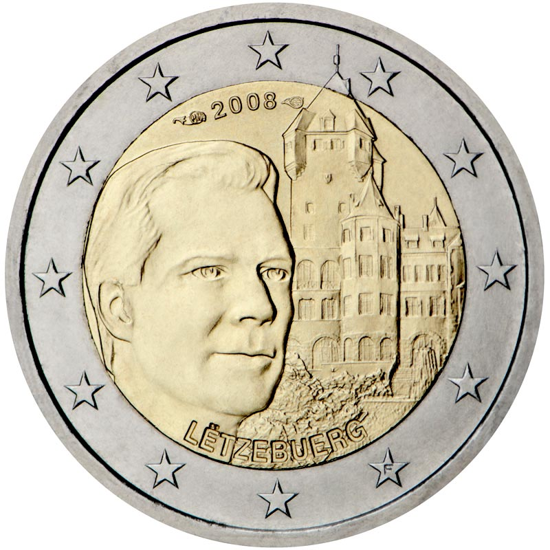 Image of Grand-Duke Henri and the 'Château de Berg' – 2 euro coin Luxembourg 2008