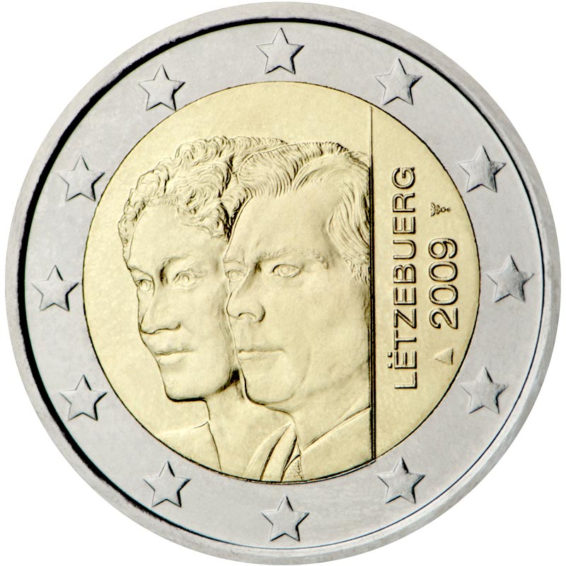 Image of 2 euro coin – 90th Anniversary of Grand Duchess Charlotte's Accession to the Throne | Luxembourg 2009