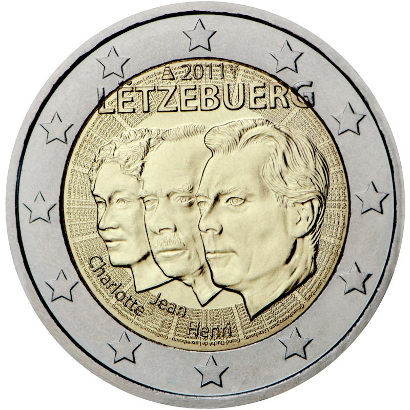 Image of 2 euro coin – 50th anniversary of the appointment by the Grand-Duchess Charlotte of her son Jean as lieutenant-représentant | Luxembourg 2011