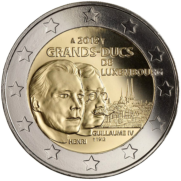 Image of 2 euro coin - 100th Anniversary of the death of the William IV | Luxembourg 2012