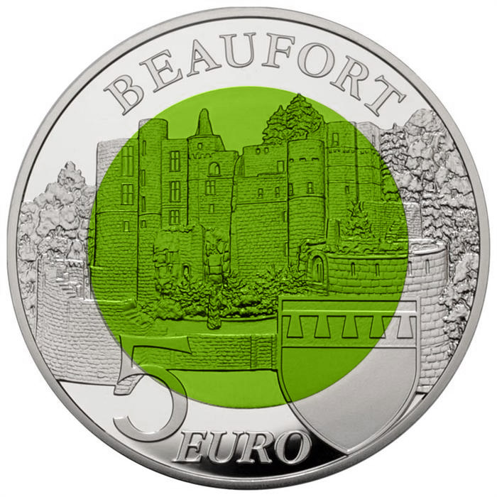 Image of 5 euro coin – Beaufort | Luxembourg 2013.  The Bimetal: silver, niobium coin is of BU quality.