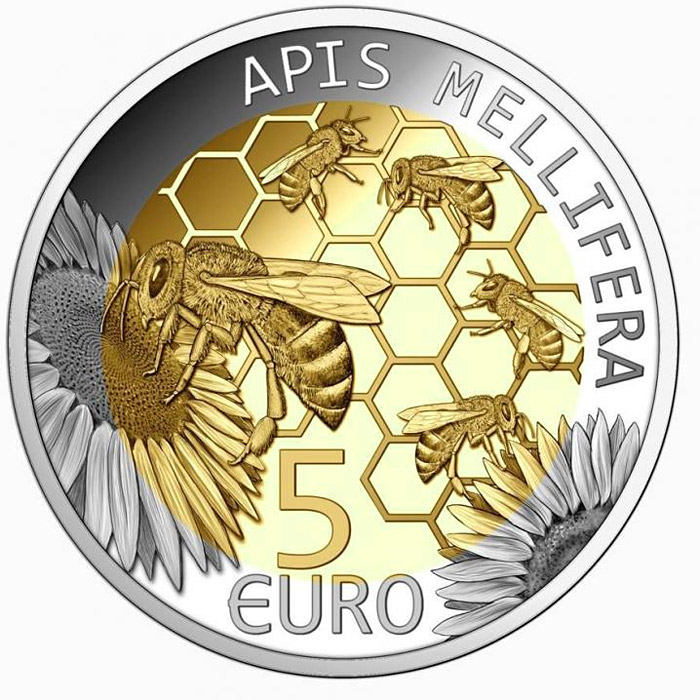 Image of 5 euro coin - European honey bee | Luxembourg 2013.  The Bimetal: silver, nordic gold coin is of Proof quality.